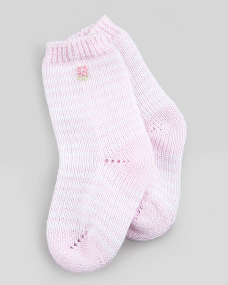Floral-Embroidered Knit Socks, White/Pink