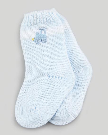 Choo-Choo Train Knit Socks, Light Blue