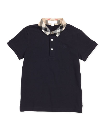 William Check-Collar Polo, True Navy, 4Y-10Y