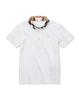 Check-Collar Polo, White, 4Y-10Y