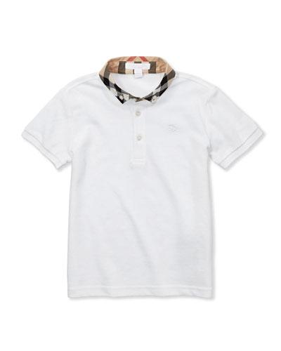 William Check-Collar Polo, White, 4Y-10Y