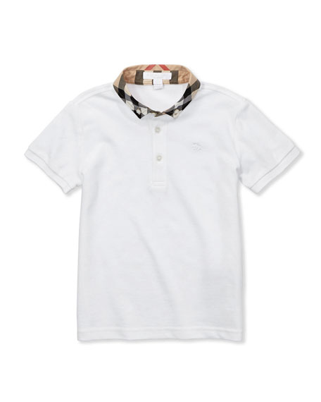 William Check-Collar Polo, White, 4Y-10Y