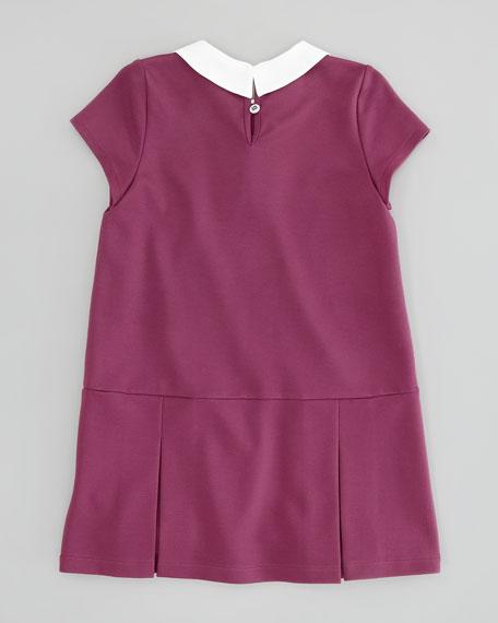 Girls' Drop-Waist Knit Dress, Dark Pink