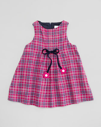 Plaid Dress with Bow Detail, Fuchsia/Navy, Sizes 2T-3T