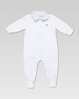 Gucci Polo Sleepsuit, White/Gray