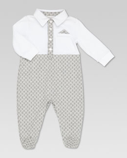 Gucci GG Print Sleepsuit, Gray/White