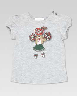 Gucci GG Cheer-Print Tee, Light Gray