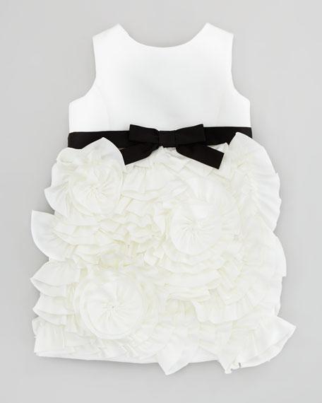 Rosette Satin Party Dress, White, Sizes 2-6
