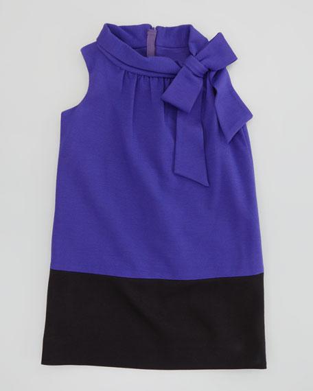 Bow-Neck Combo Ponte Dress, 2-6/7
