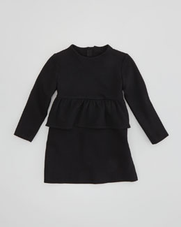 Milly Minis Long-Sleeve Peplum Dress, Black, Sizes 2-6