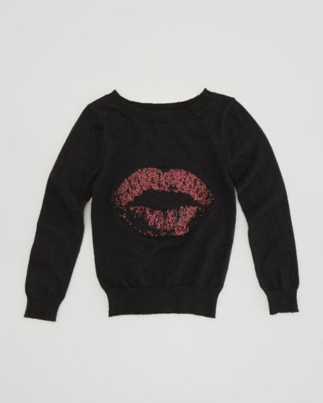 Lips Intarsia Pullover Sweater, Black