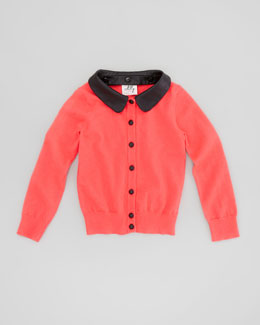 Milly Minis Removable Faux-Leather-Collar Cardigan, Melon, Sizes 8-10