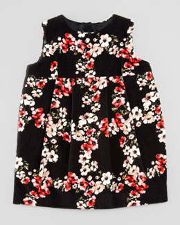 Dolce & Gabbana Infant Sleeveless Floral-Print Velvet Dress