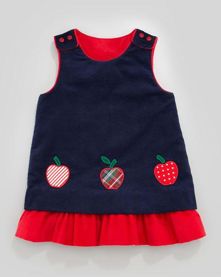 Snowflake/Apples Reversible Corduroy Dress, 2T-4T