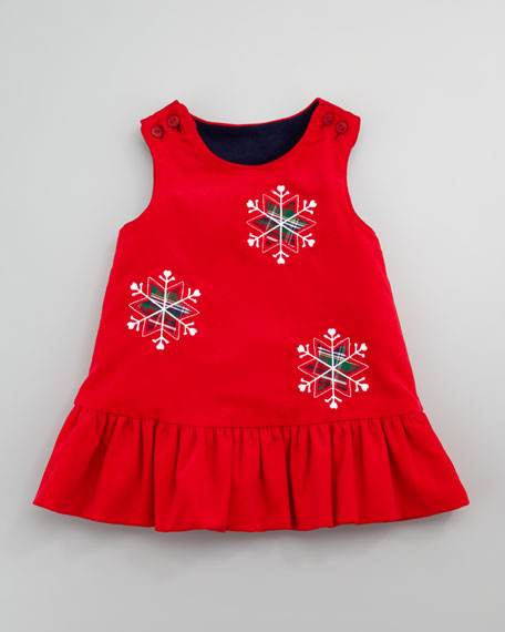 Snowflake/Apples Reversible Corduroy Dress, Sizes 4-6X