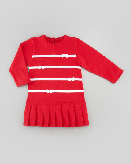 Holly Striped Drop-Waist Dress, Red, 2T-4T