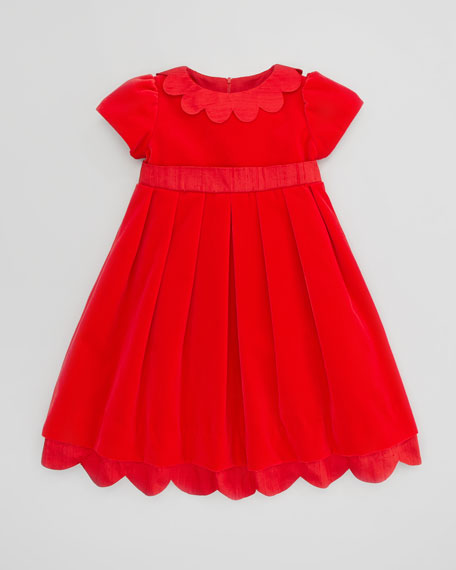 Shantung Scallop-Trim Velvet Dress, Sizes 4-6X