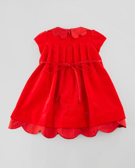 Shantung Scallop-Trim Velvet Dress, 3-9 Months