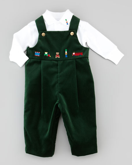 Velvet Toy-Embroidered Overalls, Green, 12-24 Months