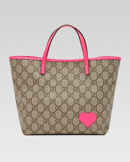GG Heart Tote Bag, Hot Pink