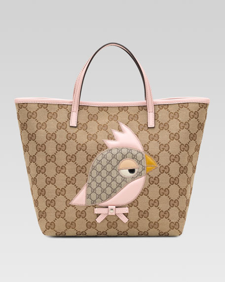 GG Plus Canvas Parrot Bag, Pink