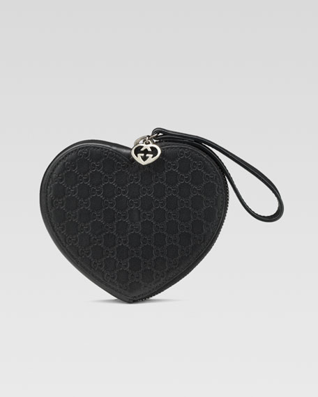 Guccissima Heart-Shaped Wristlet