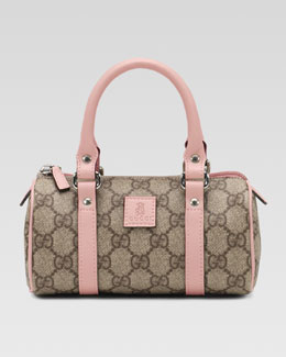 Gucci Girls' Leather-Trim GG Plus Fabric Bag, Pink