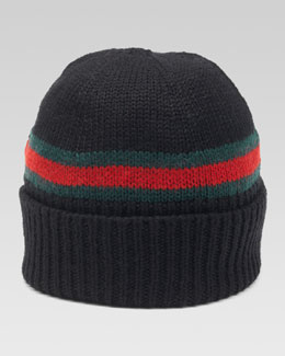 Gucci Maga Striped Wool Beanie, Nero/Green