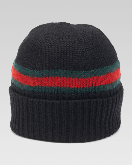 Maga Striped Wool Beanie, Nero/Green