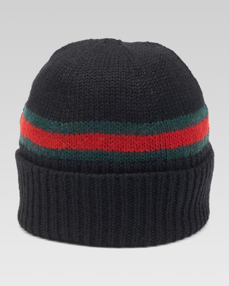 Maga Striped Wool Beanie, Nero/Green