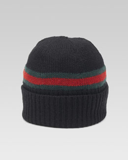 Gucci Maga B Knit Hat with Web, White/Green