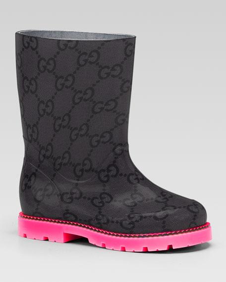 Edinburg GG Rain Boot, Pink/Black