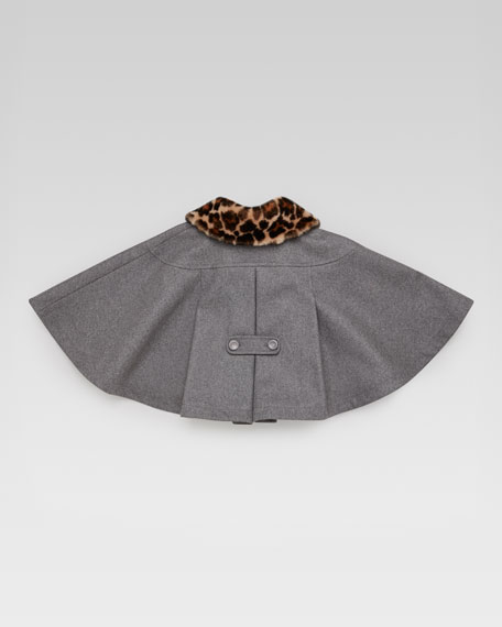 Jaguar-Print Fur-Collar Cape