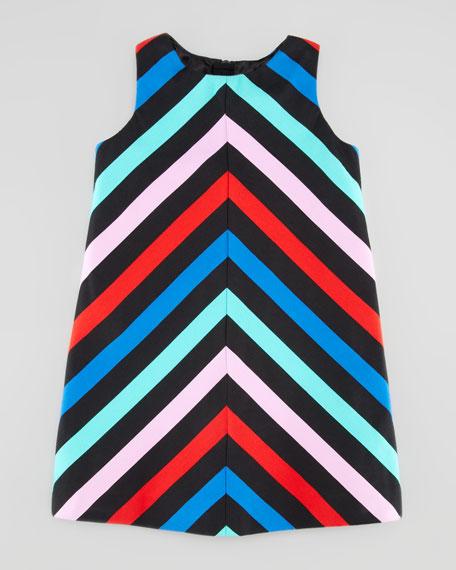 Sleeveless Striped-Twill Dress, Sizes 2-6