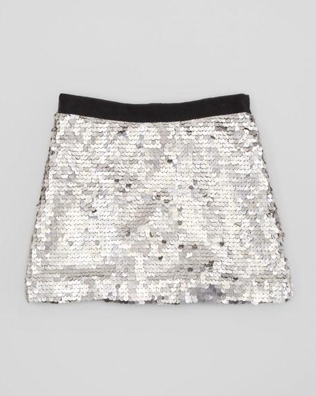 Sequin Miniskirt, Silver, Sizes 2-6