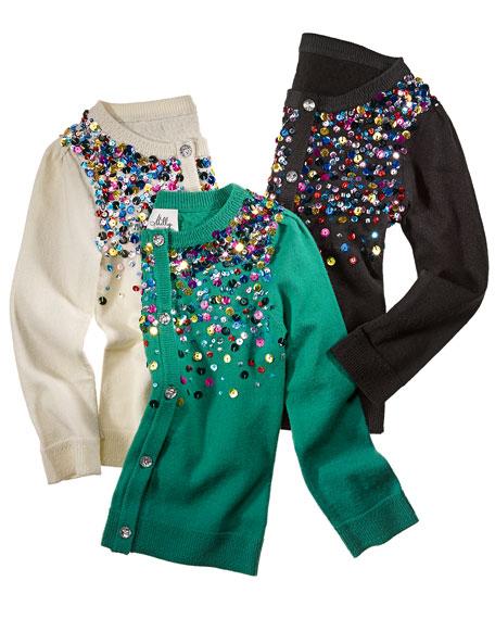 Multi-Sequin Knit Cardigan, Black, Sizes 2-6