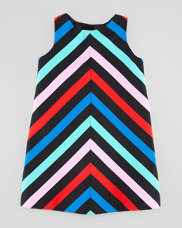 Milly Minis Sleeveless Striped-Twill Dress, Sizes 8-10