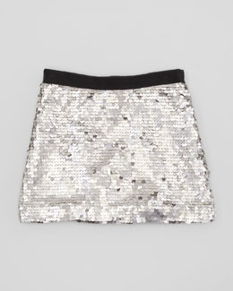 Milly Minis Sequin Miniskirt, Silver, Sizes 8-10