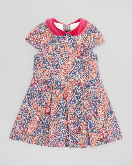 Girls' Paisley Party Dress, Blue, 4Y-6Y