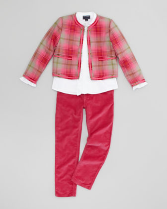 Girls' Classic Tartan Plaid Jacket, Hot Pink, 4Y-10Y