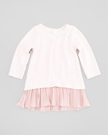 Dropped Waist Long-Sleeve Dress, Pink, Sizes 2-4