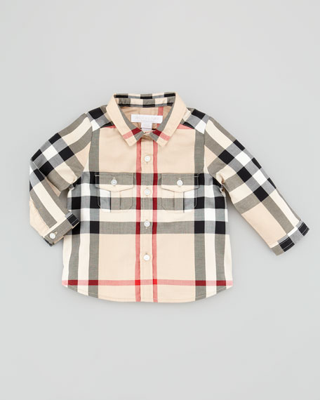 Burberry Infant Boys' Check Long-Sleeve Shirt, New Classic,