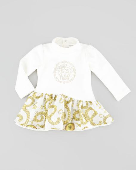 Long-Sleeve Chain-Print Dress, Ivory, 12-24 Months