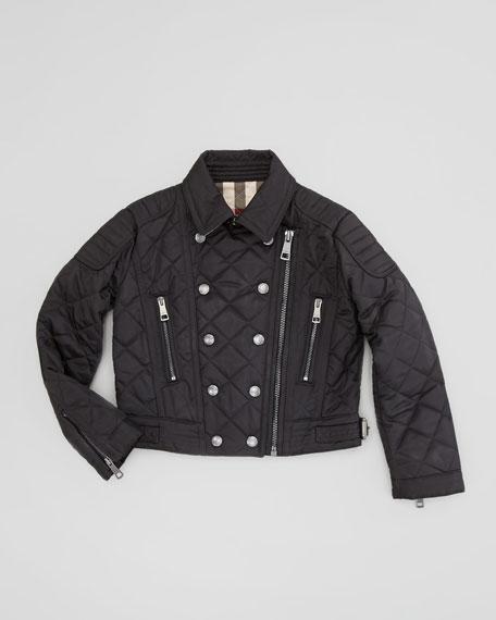 Girls' Quilted Moto-Jacket, Black, 4Y-10Y