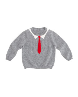 Christopher Fischer William Tie-Intarsia Cashmere Sweater, 6-24 Months