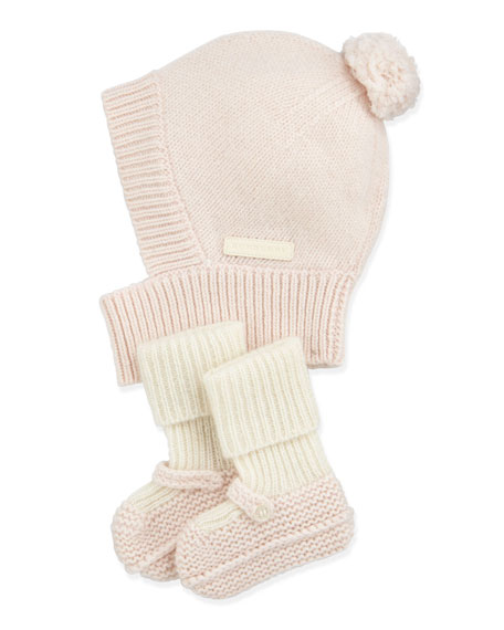 ee4d82b06 Newborn Knit Cashmere Hat & Mary Jane Booties Set Light Pink