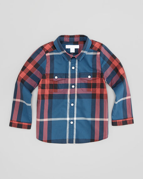 Infant Boys' Check Shirt, Dark Gray, 2T-3T