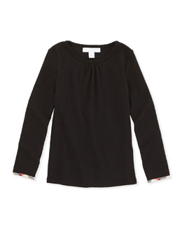 Check-Cuff Long-Sleeve Tee, Black, 4-10Y