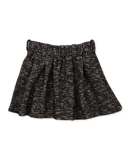 Burberry Belted Tweed Miniskirt, Black, 4Y-10Y