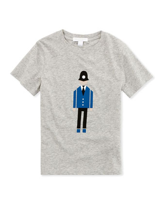 Police Officer Graphic Long-Sleeve Tee, Gray, 4Y-10Y